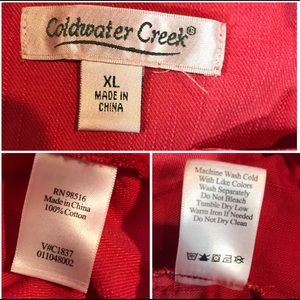 Coldwater Creek Jackets & Coats - Coldwater Creek Red Hooded Popover Cotton Jacket
